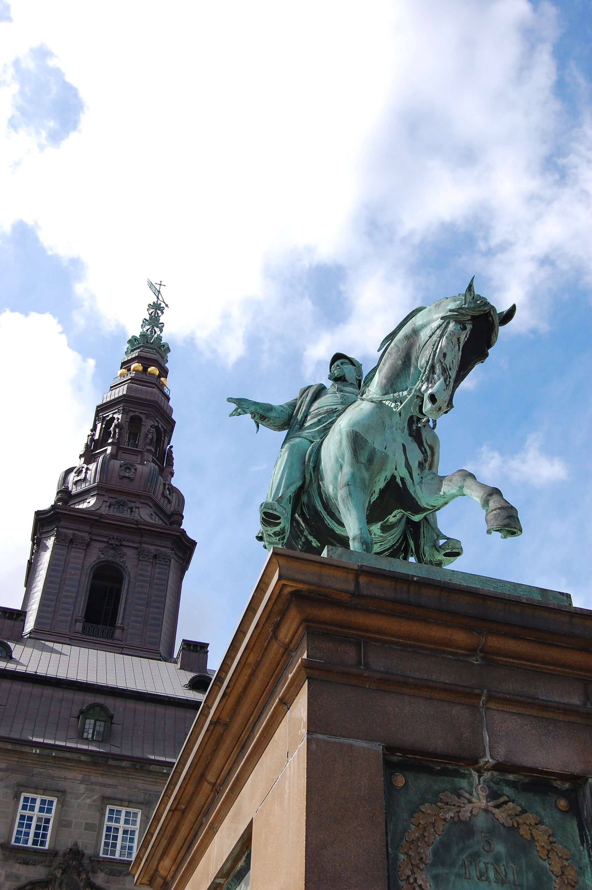 Christiansborg Palace and statue
